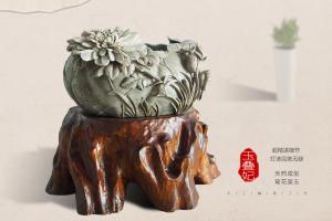 木石的结合 菊花石与根雕艺术