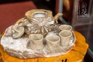 沧海石趣,俊秀素雅的菊花石茶具
